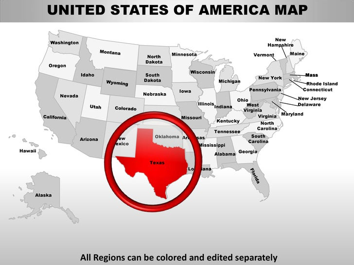 Usa Texas State Powerpoint County Editable Ppt Maps And Templates - Usa texas map