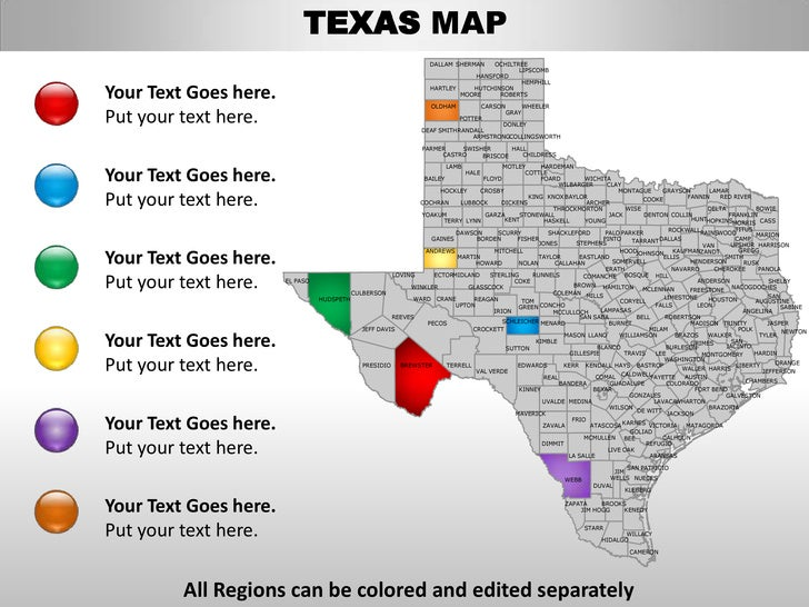 Usa Texas State Powerpoint County Editable Ppt Maps And Templates - Texas state map by county