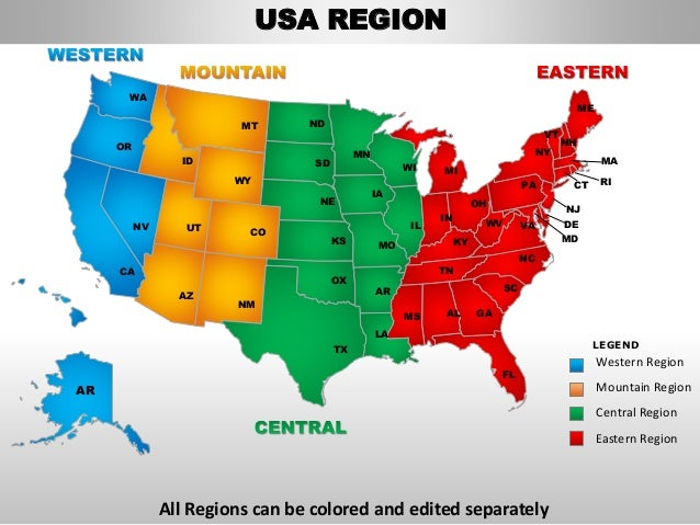 Usa Western Region Country Editable Powerpoint Maps With States And C - Us map with states that can be colored