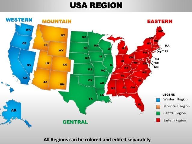 western region mountain region central region eastern region usa region 4