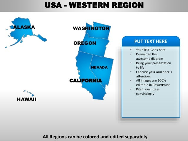 Usa western region country editable powerpoint maps with for Oregon state powerpoint template