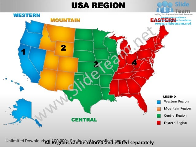 Usa western region country editable powerpoint maps with ...