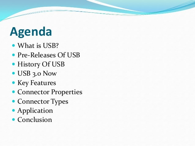 What is USB? USB stands for Universal Serial Bus Provides an expandable, fast, bi-directional, low cost, hotpluggable Pl...