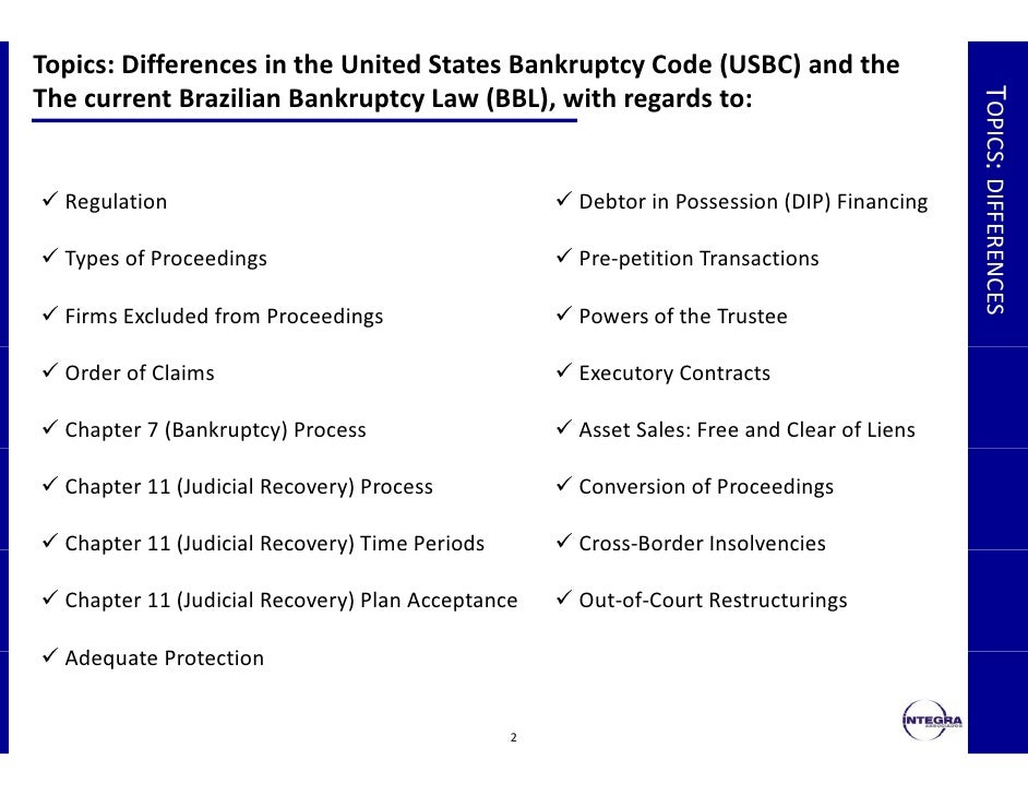 understanding the important aspects and types of bankruptcy in the united states Important aspects of the strength of creditor rights are the specific features of a country's insolvency characteristics and the effect of different types of creditor rights that can help explain the relative use of united states that use in-court bankruptcy proceedings have a smaller percentage of debt owed to banks and a.