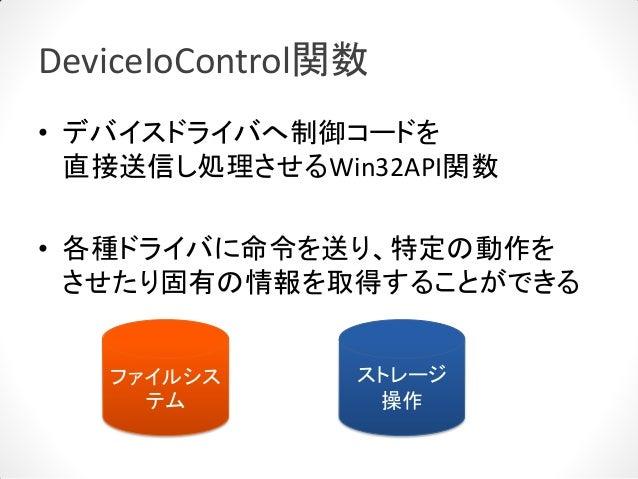 DeviceIoControl関数• デバイスドライバへ制御コードを  直接送信し処理させるWin32API関数• 各種ドライバに命令を送り、特定の動作を  させたり固有の情報を取得することができる   ファイルシス       ストレージ  ...