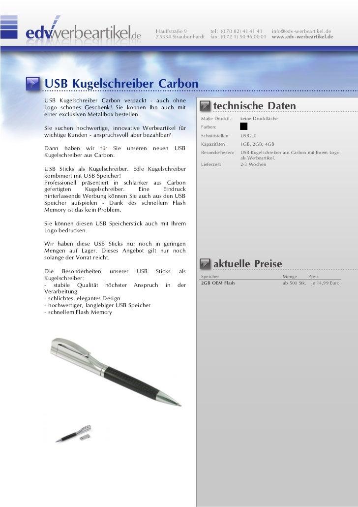 Usb Kugelschreiber Carbon