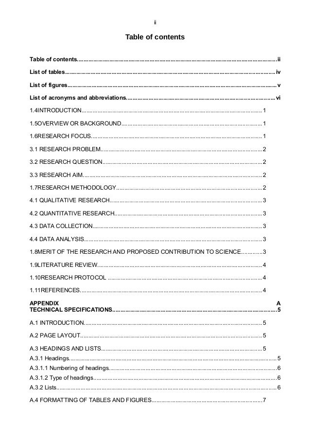table of contents format for research paper