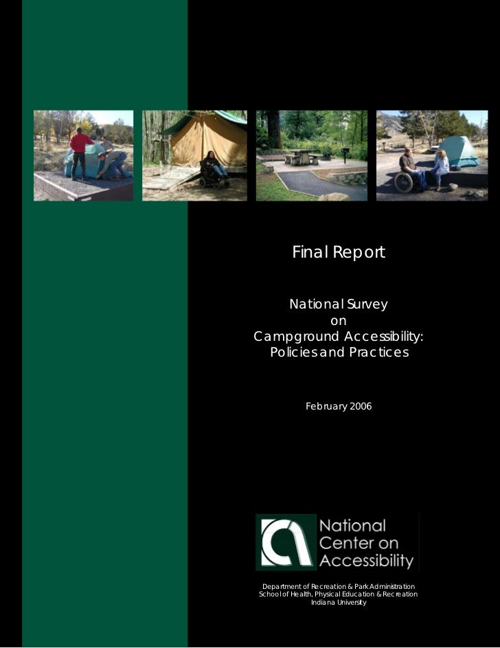 Final Report        National Survey             on Campground Accessibility:   Policies and Practices                  Feb...