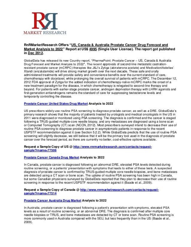 """RnRMarketResearch Offers """"US, Canada & Australia Prostate Cancer Drug Forecast andMarket Analysis to 2022"""" Report at US$ 4..."""