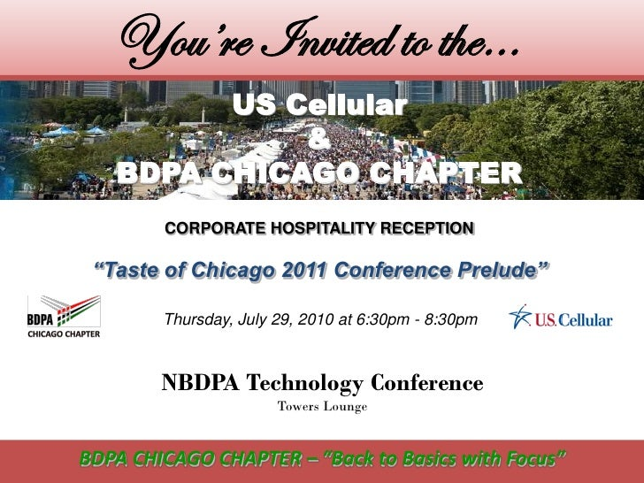 You're Invited to the…          US Cellular              &    BDPA CHICAGO CHAPTER         CORPORATE HOSPITALITY RECEPTION...