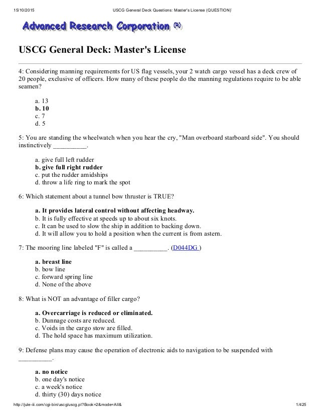 Uscg general deck questions master's license (question)`