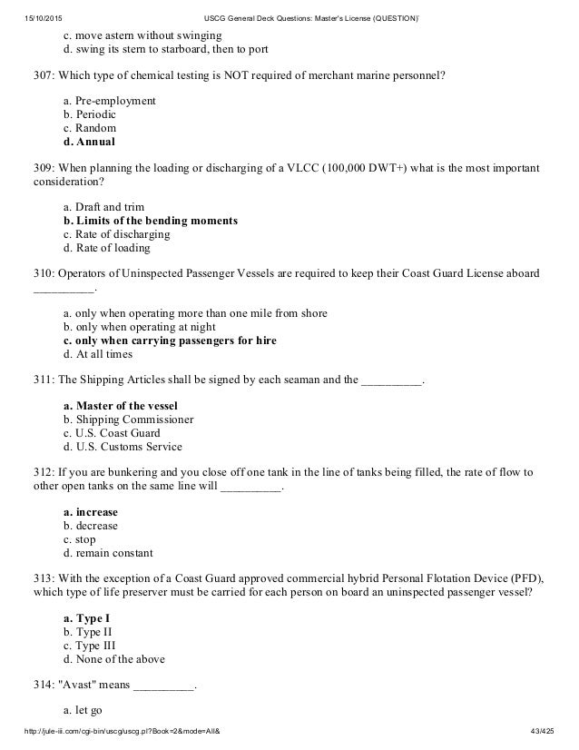 Uscg General Deck Questions Master S License Question