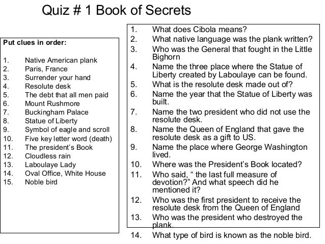 Quiz # 1 Book of SecretsPut clues in order:1. Native American plank2. Paris, France3. Surrender your hand4. Resolute desk5...