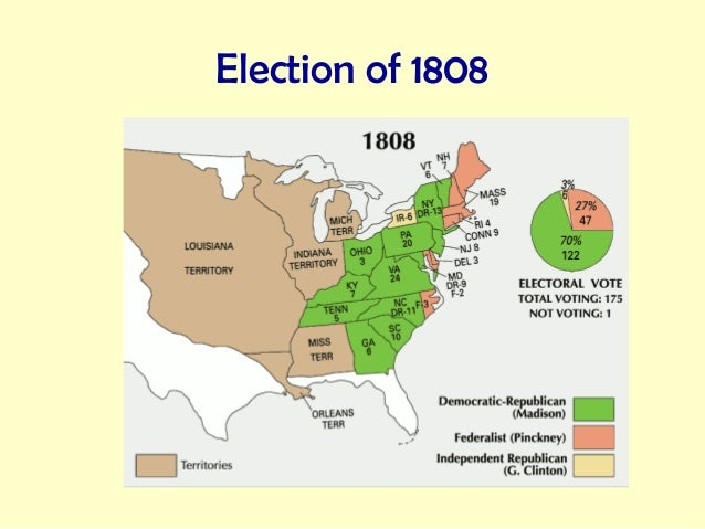 the election of 1812 United states presidential election of 1808: united states presidential election of 1808, american presidential election held in 1808, in which democratic-republican candidate james madison defeated federalist charles cotesworth pinckney.
