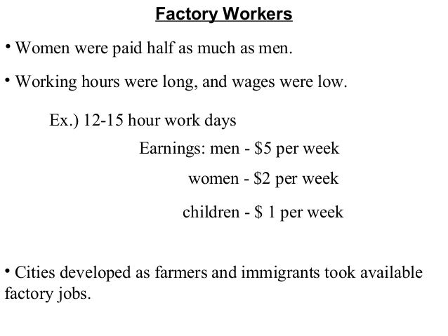 long hours of work and low wages greeted americans in the industrial revolution The average wage for a waiter/waitress is $509 per hour  waiters and  waitresses have a wide variety of tasks to perform during their work shift,  including.