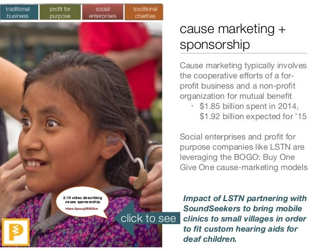 cause marketing + sponsorship Cause marketing typically involves the cooperative efforts of a for- profit business and a non...