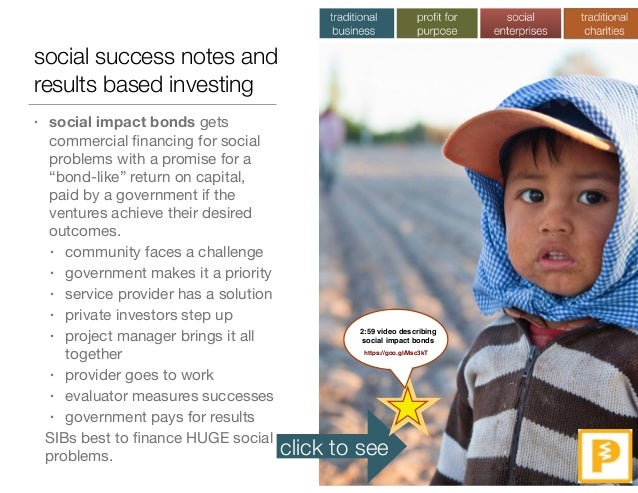social success notes and results based investing • social impact bonds gets commercial financing for social problems with a...