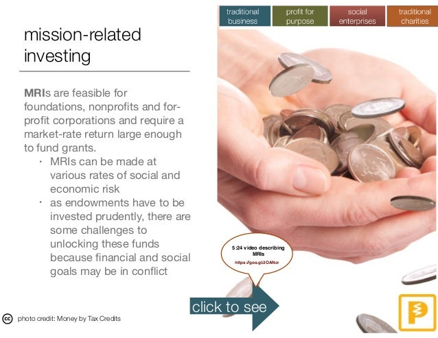 mission-related investing MRIs are feasible for foundations, nonprofits and for- profit corporations and require a market-ra...
