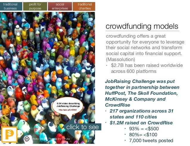 crowdfunding models crowdfunding offers a great opportunity for everyone to leverage their social networks and transform so...