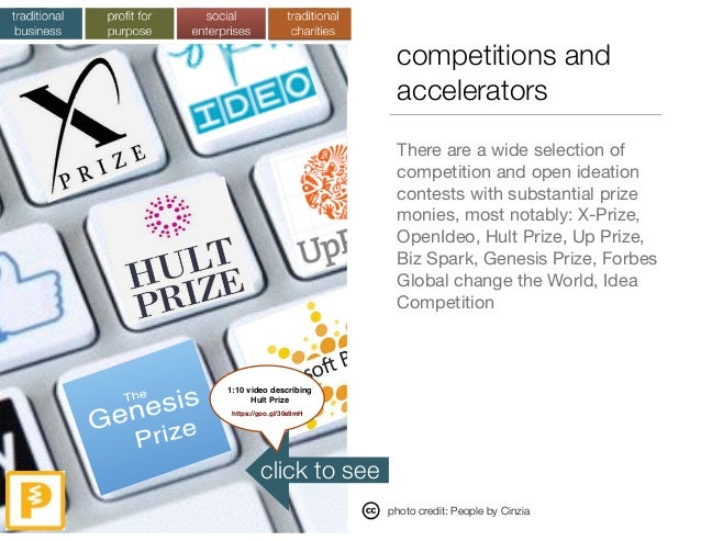 competitions and accelerators There are a wide selection of competition and open ideation contests with substantial prize ...