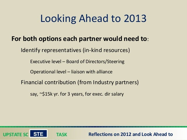 UPSTATE SC TASK STE Reflections on 2012 and Look Ahead to For both options each partner would need to: Identify represent...