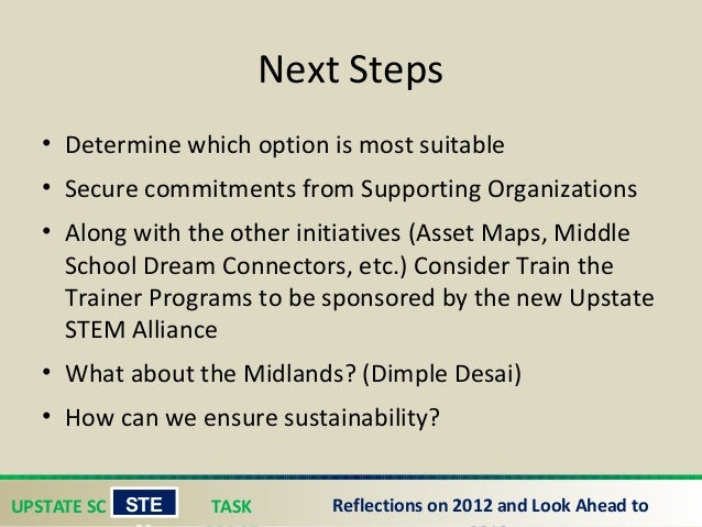 UPSTATE SC TASK STE Reflections on 2012 and Look Ahead to Next Steps • Determine which option is most suitable • Secure c...
