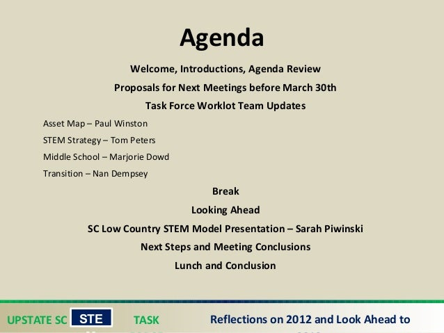 UPSTATE SC TASK STE Reflections on 2012 and Look Ahead to Agenda Welcome, Introductions, Agenda Review Proposals for Next...