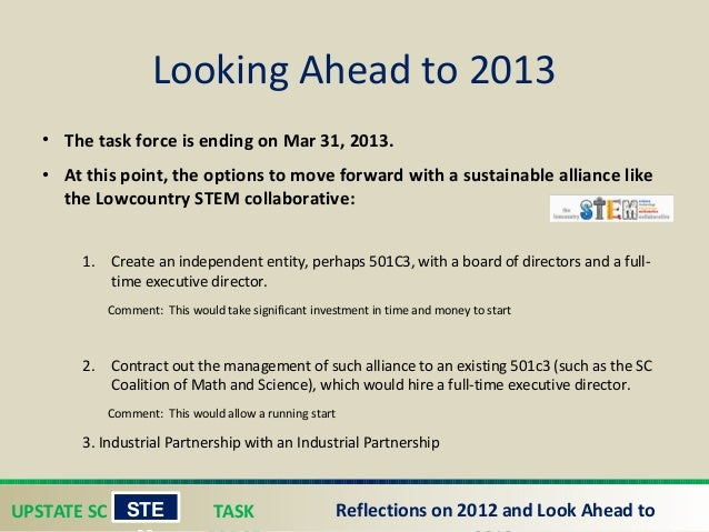 UPSTATE SC TASK STE Reflections on 2012 and Look Ahead to • The task force is ending on Mar 31, 2013. • At this point, th...