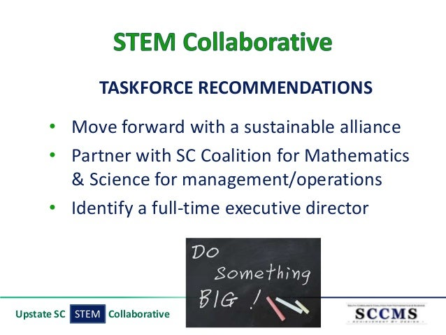 TASKFORCE RECOMMENDATIONS • Move forward with a sustainable alliance • Partner with SC Coalition for Mathematics & Science...