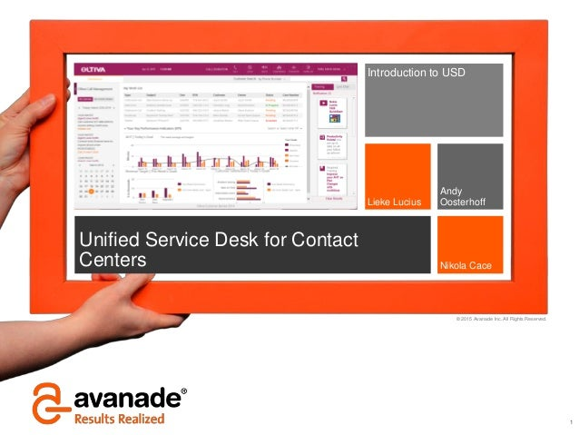 2015 Avanade Inc. All Rights Reserved. 1 Unified Service Desk For Contact  Centers ...