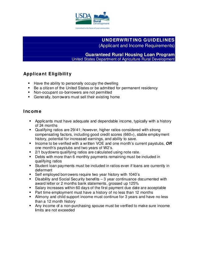 UNDERWRITING GUIDELINES(Applicant and Income Requirements)Guaranteed Rural Housing Loan ProgramUnited States Department of...