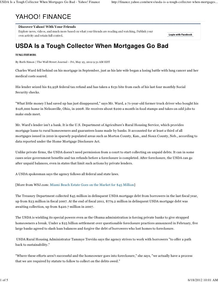 USDA Is a Tough Collector When Mortgages Go Bad - Yahoo! Finance                   http://finance.yahoo.com/news/usda-is-a...