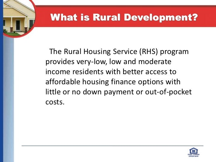 USDA Rural Housing; 2.