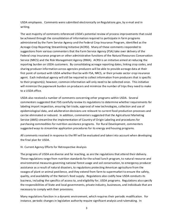 Department of Agriculture Preliminary Regulatory Reform Plan Slide 3