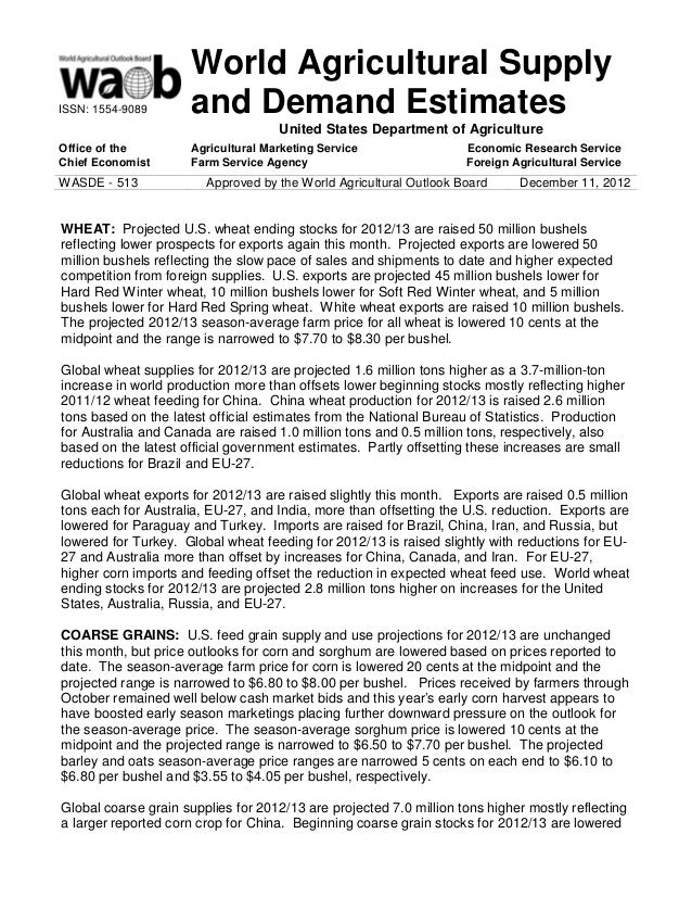 World Agricultural SupplyISSN: 1554-9089       and Demand Estimates                                     United States Depa...