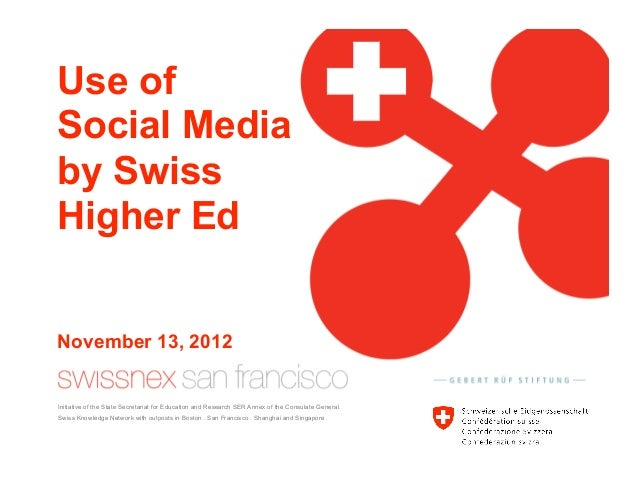 Use ofSocial Mediaby SwissHigher EdNovember 13, 2012Initiative of the State Secretariat for Education and Research SER Ann...