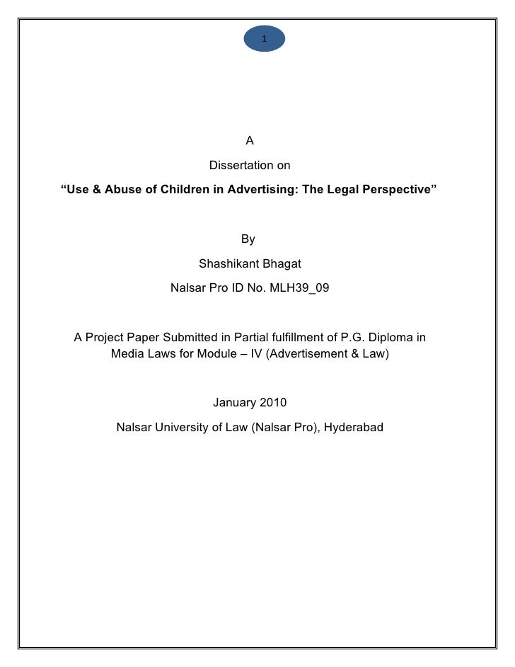 """1                                  A                           Dissertation on""""Use & Abuse of Children in Advertising: The..."""