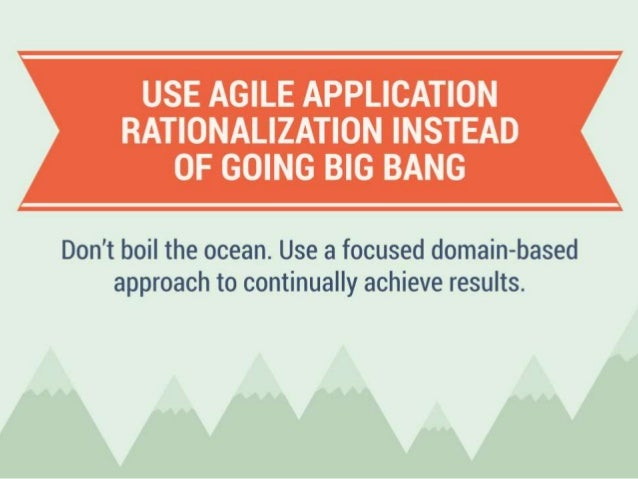 Use Agile Application Rationalization Instead of Going Big Bang Don't boil the ocean. Use a focused domain-based approach ...