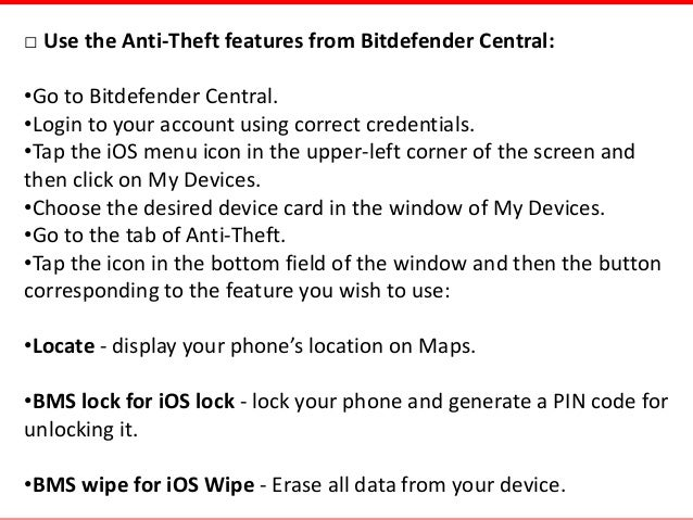 Use Anti-Theft Feature of Bitdefender Mobile Security in iOS