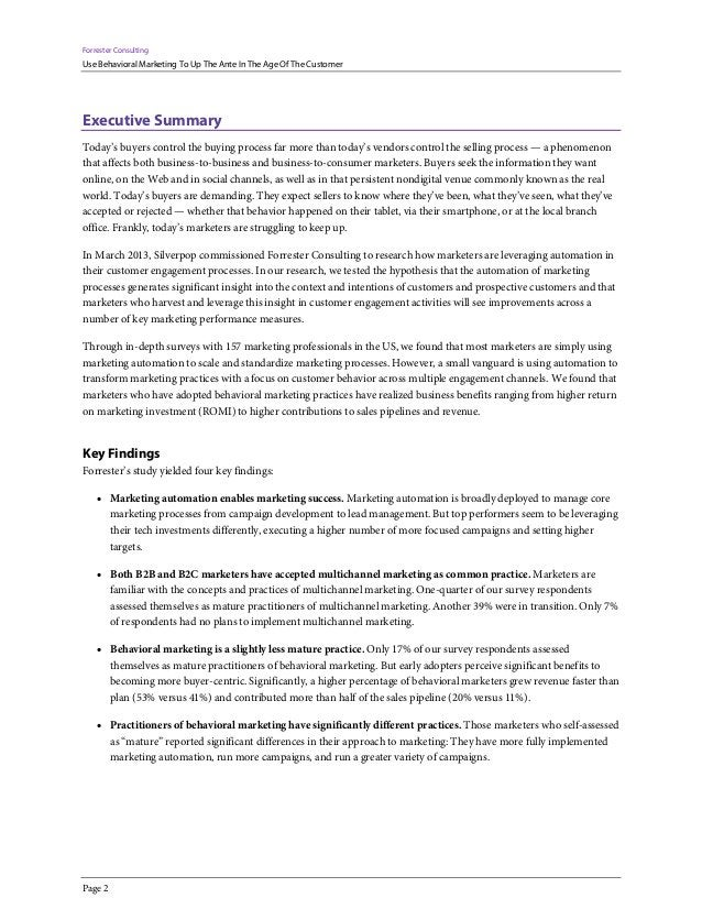 Forrester Consulting Use Behavioral Marketing To Up The Ante In The Age Of The Customer Page 2 Executive Summary Today's b...