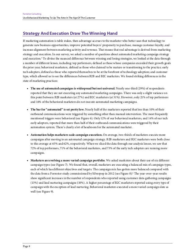 Forrester Consulting Use Behavioral Marketing To Up The Ante In The Age Of The Customer Page 8 Strategy And Execution Draw...