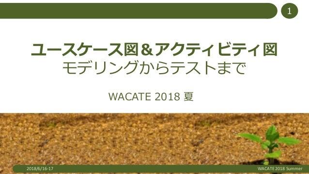 ユースケース図&アクティビティ図 モデリングからテストまで WACATE 2018 夏 2018/6/16-17 WACATE 2018 Summer 1