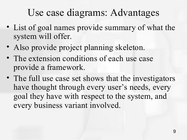 disadvantages of a use case diagram How to draw use case diagrams to document and for each one explain the kind of information that you would expect to gain from its use, its advantages and disadvantages booth (1989) chapter 5 describes the issues surrounding the usability of systems in more detail than we.