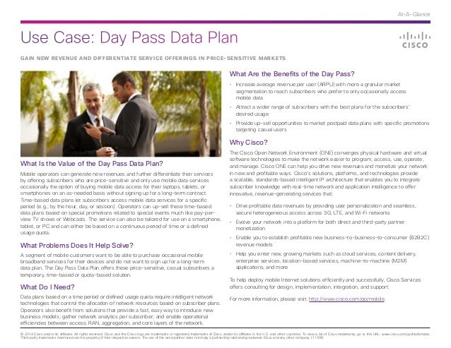 Use Case: Day Pass Data Plan © 2014 Cisco and/or its affiliates. All rights reserved. Cisco and the Cisco logo are tradema...