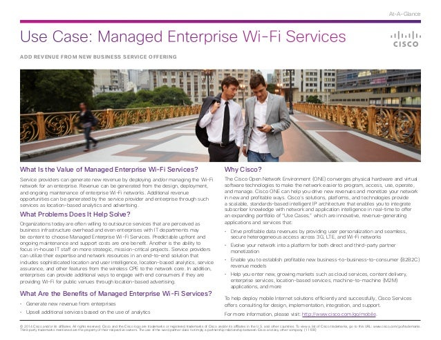 Use Case: Managed Enterprise Wi-Fi Services © 2014 Cisco and/or its affiliates. All rights reserved. Cisco and the Cisco l...
