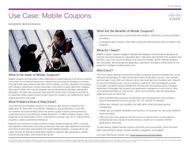 Use Case: Mobile Coupons © 2014 Cisco and/or its affiliates. All rights reserved. Cisco and the Cisco logo are trademarks ...