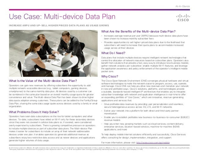 Use Case: Multi-device Data Plan © 2014 Cisco and/or its affiliates. All rights reserved. Cisco and the Cisco logo are tra...