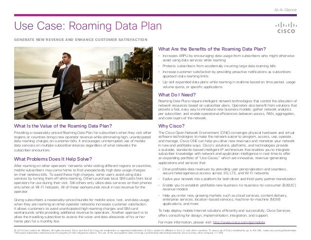 Use Case: Roaming Data Plan © 2014 Cisco and/or its affiliates. All rights reserved. Cisco and the Cisco logo are trademar...