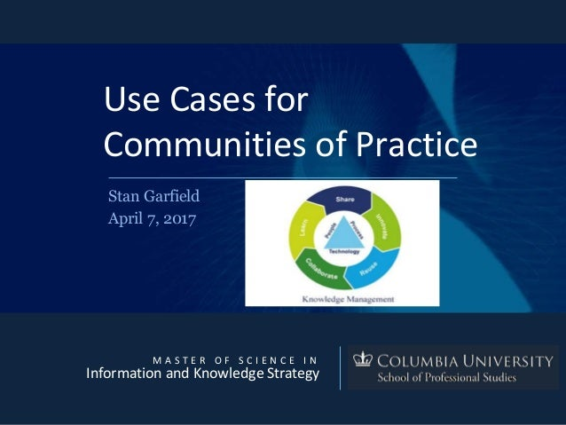 M A S T E R O F S C I E N C E I N Information and Knowledge Strategy Use Cases for Communities of Practice Stan Garfield A...
