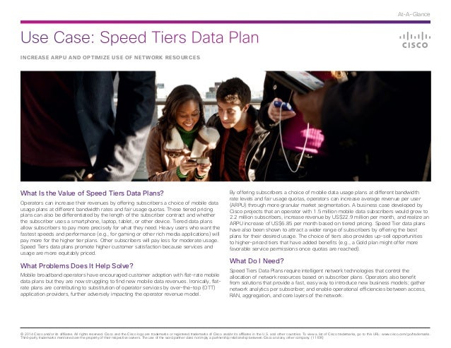 Use Case: Speed Tiers Data Plan © 2014 Cisco and/or its affiliates. All rights reserved. Cisco and the Cisco logo are trad...